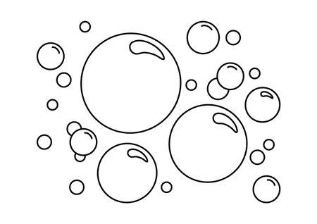 Bubbles vector line icon. Cartoon soap foam, bath suds, effervescent water, soda or champagne, fizzy drink, oxygen bubbles. Black outline design. Editable strokes. Abstract illustration