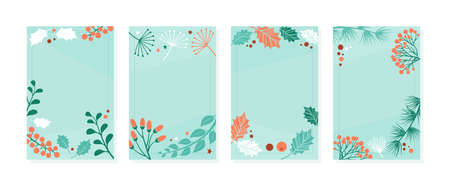 Christmas card template, winter vector banners, vintage nature cover, decoration background with plants branch, leaves and berries. Holiday illustration Ilustracja