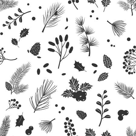 Christmas vector plants seamless pattern with holly berry, fir, tree, pine, pinecone, leaves with branches, holiday decoration, winter background. Black and white design. Vintage nature illustration