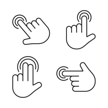 Gesture touch screen icons. Finger click, tap on button. Touchscreen technology. Black line art. Vector illustration