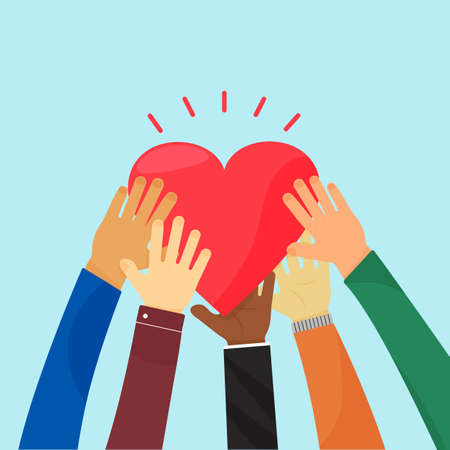Ampathy and charity. Heart holding by different hands. Vector concept love, volunteer, community christian. Social illustration Ilustracja