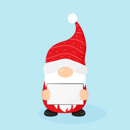 Christmas Santa Claus with sale banner, cartoon character vector icon, red Santa hat, New Year advertising, holiday winter illustration on blue background Ilustracja