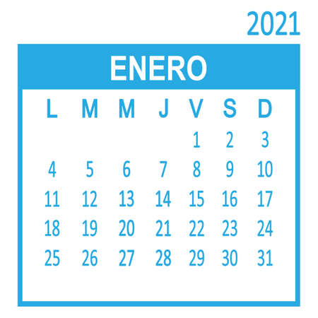 Enero January. First page of set. Spanish calendar 2021, template. Week starts from Lunes Monday. Vector illustration