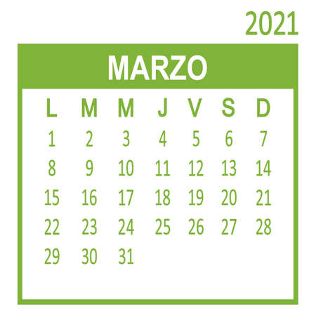 Marzo March. Third page of set. Calendar 2020, template. Week starts from Lunes Monday. Vector illustration