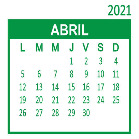 Abril April. Fourth page of set. Calendar 2020, template. Week starts from Lunes Monday. Vector illustration Ilustracja