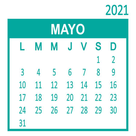 Mayo May. Fifth page of set. Calendar 2020, template. Week starts from Lunes Monday. Vector illustration Ilustracja