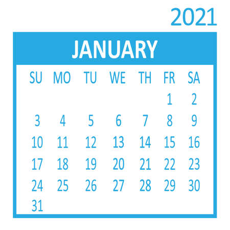 January. First page of set. Calendar 2021, template. Week starts from Sunday. Vector illustration