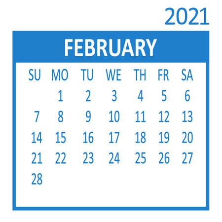 February. Second page of set. Calendar 2021, template. Week starts from Sunday. Vector illustration Ilustracja