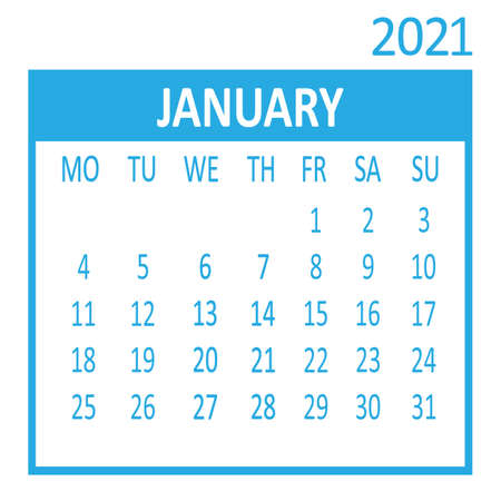 January. First page of set. Calendar 2021, template. Week starts from Monday. Vector illustration Ilustracja