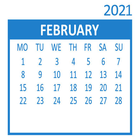 February. Second page of set. Calendar 2021, template. Week starts from Monday. Vector illustration