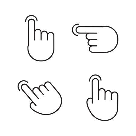 Gesture touch screen icons. Finger click, tap on button. Touchscreen technology. Vector illustration