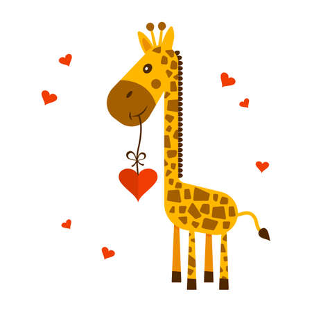 Saint Valentine's Day greeting card. 14 february. Cute giraffe with heart. Vector illustration
