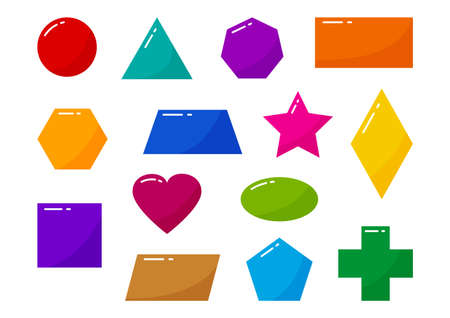 Geometric shapes kids, basic object vector icons, colorful cartoon characters isolated on white background. Children game illustration