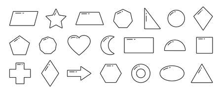 Geometric shapes kids, simple line vector icons, basic objects isolated on white background. Children game illustration