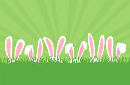 Easter bunnies ears in row in grass, cartoon rabbits ears border. Easter eggs hunt. Cute holiday background. Greeting card, space for your text. Spring illustration