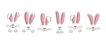 Easter vector bunnies hand drawn, face of rabbits. Cute ears and muzzle with whiskers, paws. Animal illustration