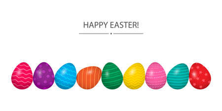 Happy Easter vector greeting card, colorful eggs in row isolated on white background. Holiday illustration