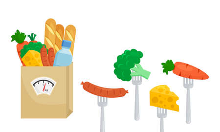 Balanced diet. Vector healthy nutrition, unhealthy food. Fresh vegetables carrots, broccoli, cheese, bread, sausage and bottle water. Paper bag with scale. Concept illustration