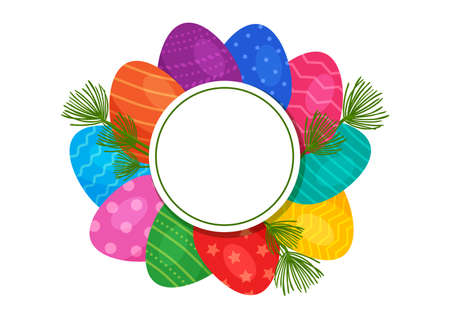 Easter egg vector circle banner. Happy Easter greeting card, holiday background, space for your text. Bright spring illustration