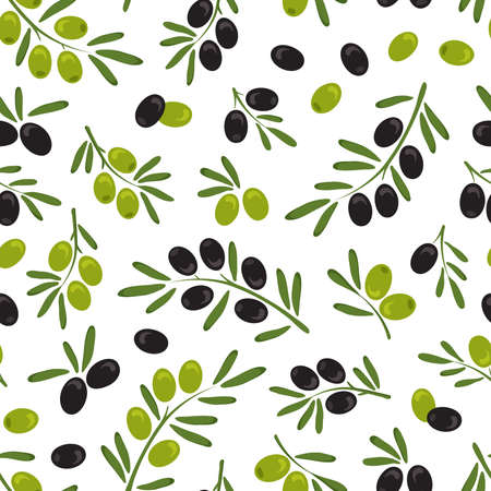 Olive branch leaf vector seamless patetrn, italian fruits, green and black olive background, hand drawn plant. Nature illustration