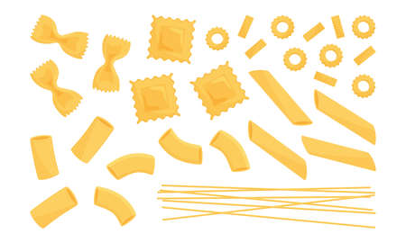 Italian pasta vector set. Wheat different types raw food. Macaroni, spaghetti, noodle, farfalle, penne, ravioli. Tasty illustration 矢量图像