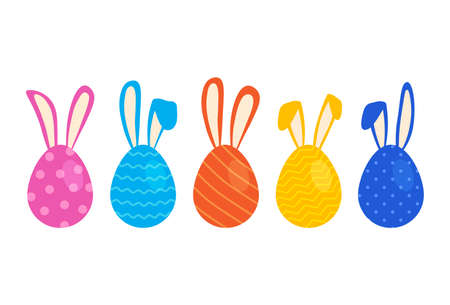 Easter eggs with ears of bunny, vector colorful rabbits, cute cartoon characters. Holiday simple illustration