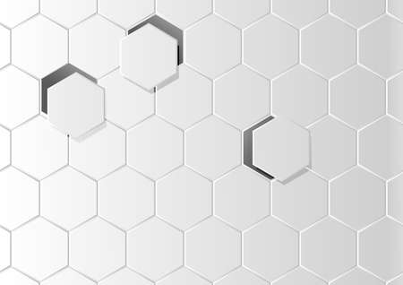 Abstract hexagon vector background, digital geometric honeycomb pattern, futuristic gray gradient texture. Monochrome illustration