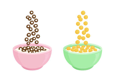 Bowl of cereal milk and chocolate vector breakfast. Rolled oats. Different sweet flavors. Falling cereal flakes isolated on white background. Healthy food for kids illustration 矢量图像