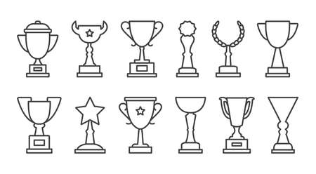 Cup trophy vector icons, award black thin line, winner champion reward isolated on white background. Editable stroke. Sport illustration
