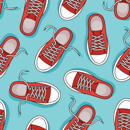 Red sneakers vector seamless pattern. Casual youth shoes on blue background. Sport illustration Vektorgrafik