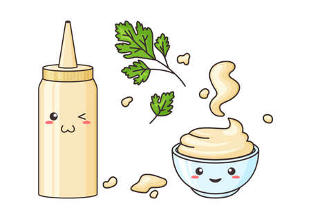 Mayonnaise kawaii, vector funny character bottle and bowl. Sauce pack in plastic container. Spots mayo and parsley leaves plant. Food illustration 矢量图像