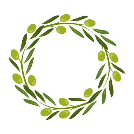 Olive wreath vector, green round frame, fruit and leaf border, circle plant crown, decorative garland. Nature illustration