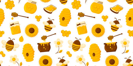 Honey vector seamless pattern. Honeycomb, bee, hive, hexagon, jar, pot, syrup, toast and flowers isolated on white background. Nature illustration 矢量图像