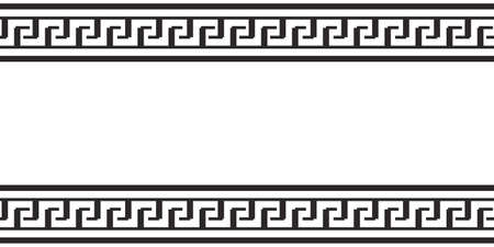 Greek rey border vector seamless pattern, roman frame, black and white ornament repeat. Ethnic illustration 矢量图像