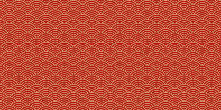 Chinese vector seamless pattern, oriental background, japanese texture, red and golden colors. Asian illustration 矢量图像