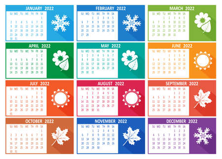 2022 year vector calendar. Week starts on Sunday template. Abstract illustration