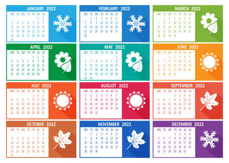 2022 year vector calendar. Week starts on Monday template. Abstract illustration