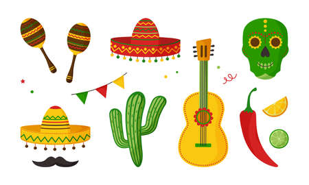 Cinco de Mayo vector celebration, mexican icon set, collection design elements. Guitar, maraca, peppers, mustache, skull, citrus, sombrero, cactus and decoration. Cartoon illustration