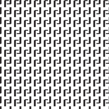 Geometric vector seamless pattern, greek key background, black and white graphic print. Abstract illustration 矢量图像