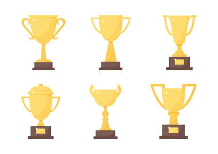Golden trophy cup set, vector sport award, champion icon isolated on white background. Winner illustration