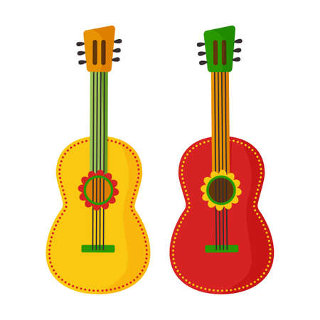 Cartoon guitar icon, musical instrument. Mexico decoration isolated on white background. Vector illustration 矢量图像