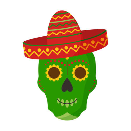 Skull in hat sombrero, vector mexican icon isolated on white background. Cartoon illustration