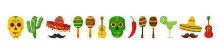 Cinco de Mayo vector celebration, mexican icon set. Guitars, maracas, pepper, mustache, skulls, sombrero, cactus and decoration. Cartoon illustration 矢量图像