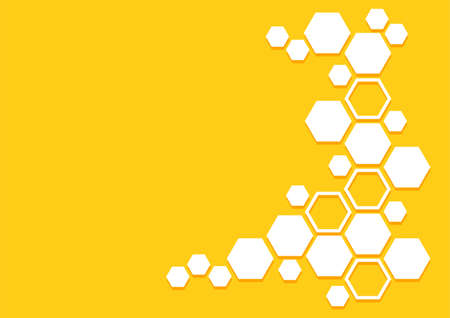 Bee honeycomb vector pattern. Honey background with hexagons. Yellow and white geometric texture. Abstract illustration 矢量图像