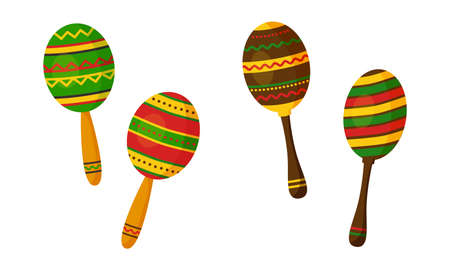 Maracas vector icon, mexican music instrument isolated on white background. Cartoon illustration
