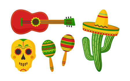 Cinco de Mayo vector celebration, mexican icon set. Guitar, maracas, skull, sombrero, cactus isolated on white background. Cartoon illustration 矢量图像