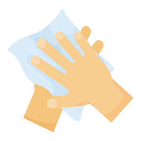 Hygiene. Wipe hands with towel. Disinfection. Vector illustration isolated on white background