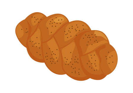 Challah vector icon. Holiday jewish braided loaf, shabbat bread isolated on white background. Food illustration