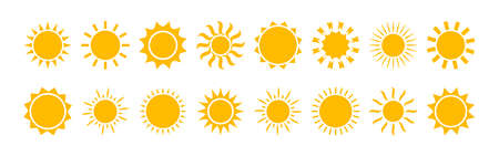 Sun vector icon, yellow solar set isolated on white background. Summer illustration 矢量图像