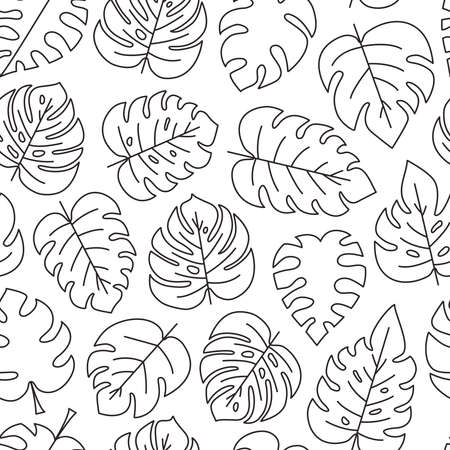 Palm leaf vector seamless pattern, tropic background, black line art. Summer illustration